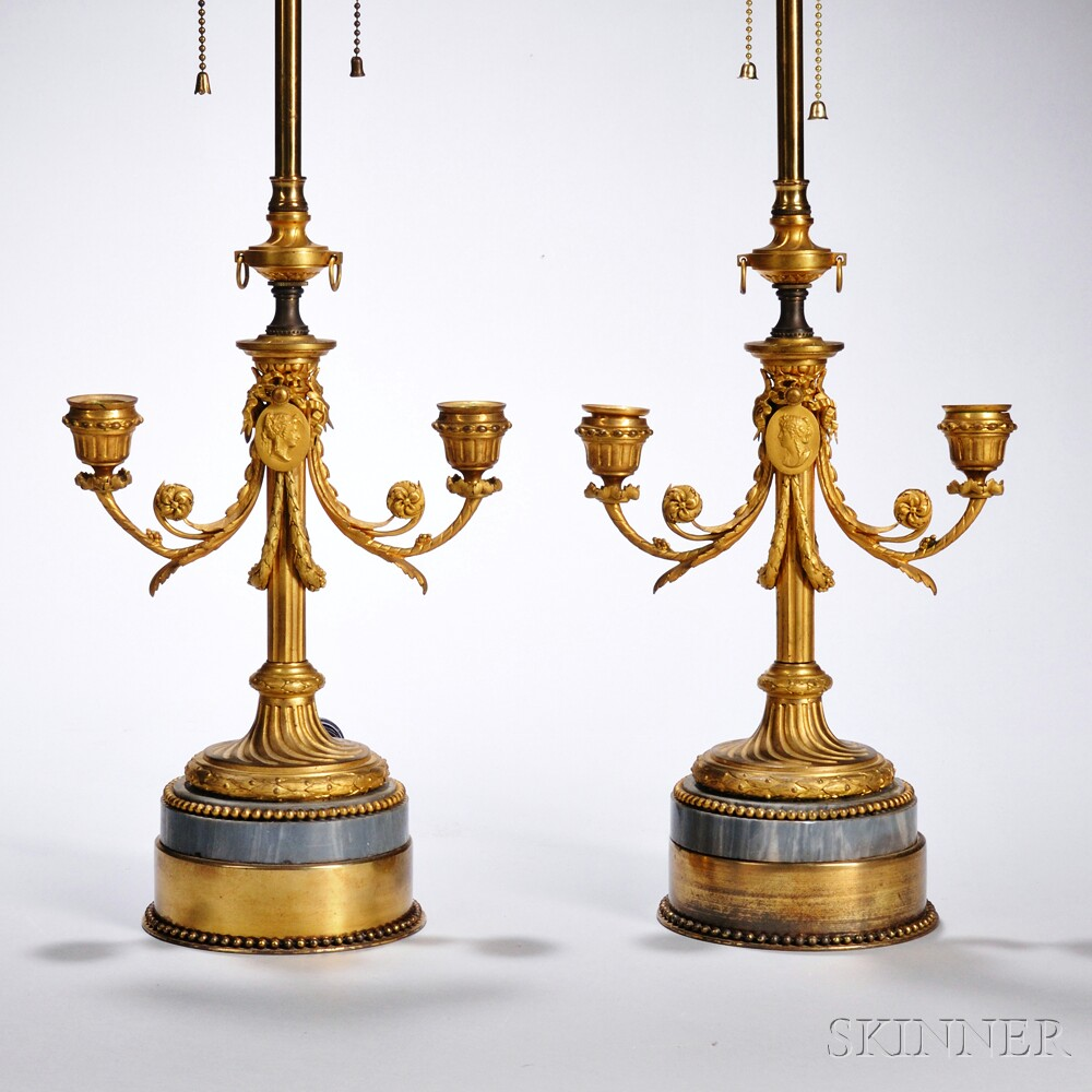 Pair of Gilt-bronze Two-light Candelabra