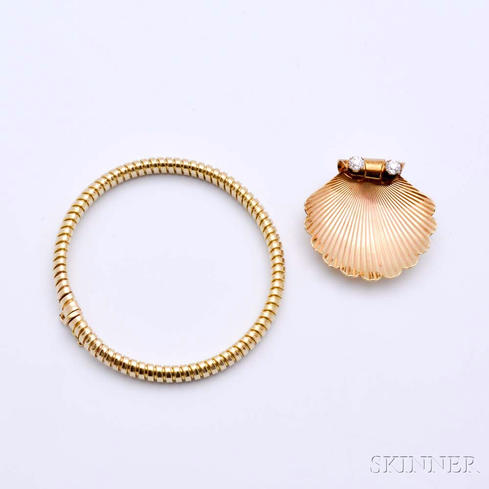 14kt Gold and Diamond Shell Brooch and 14kt Gold Italian Bracelet