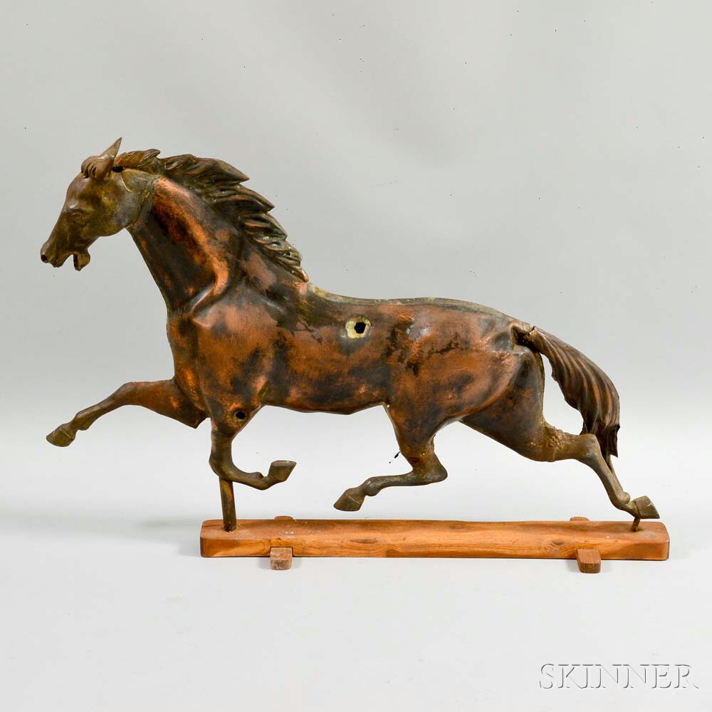 Molded Copper Running Horse Weathervane