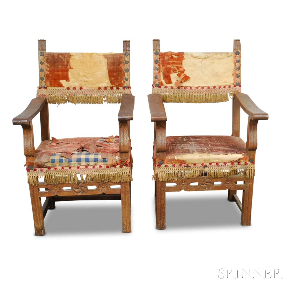 Two Renaissance Carved Walnut Armchairs