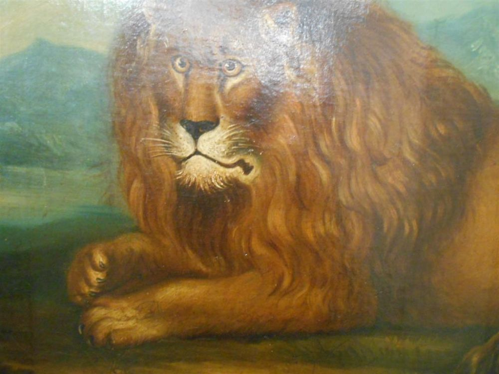 Anglo/American School, 19th Century      Recumbent Lion in a Landscape