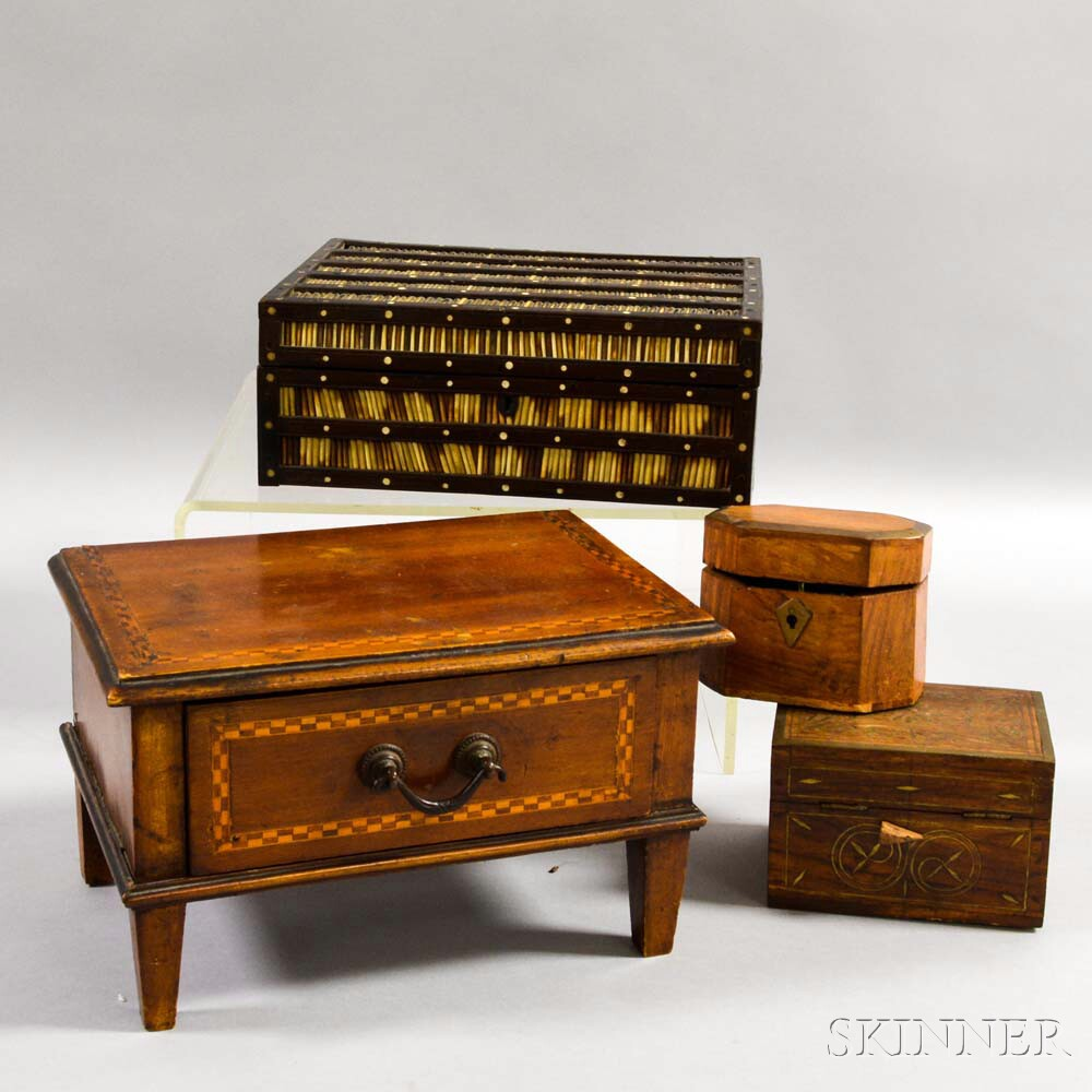 Quill Box and Three Inlaid Boxes