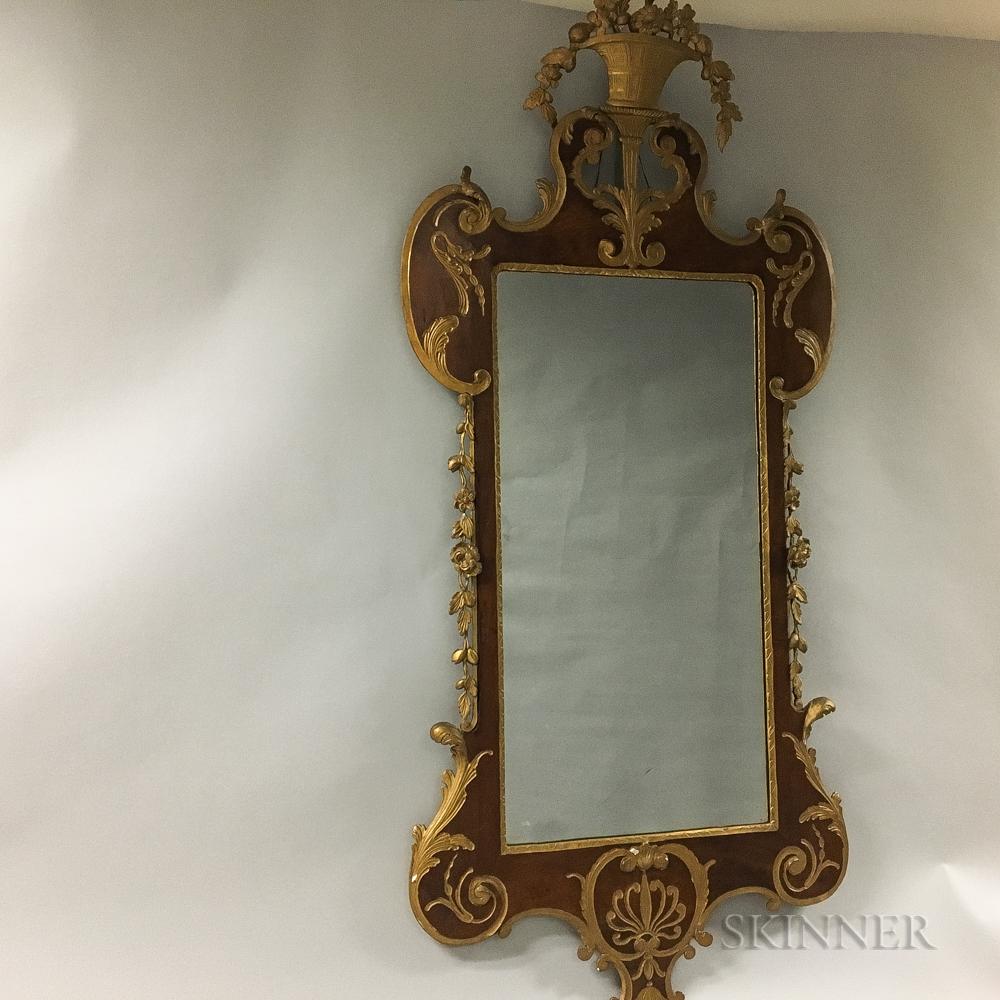 Early Georgian-style Parcel-gilt Mahogany Scroll-frame Mirror