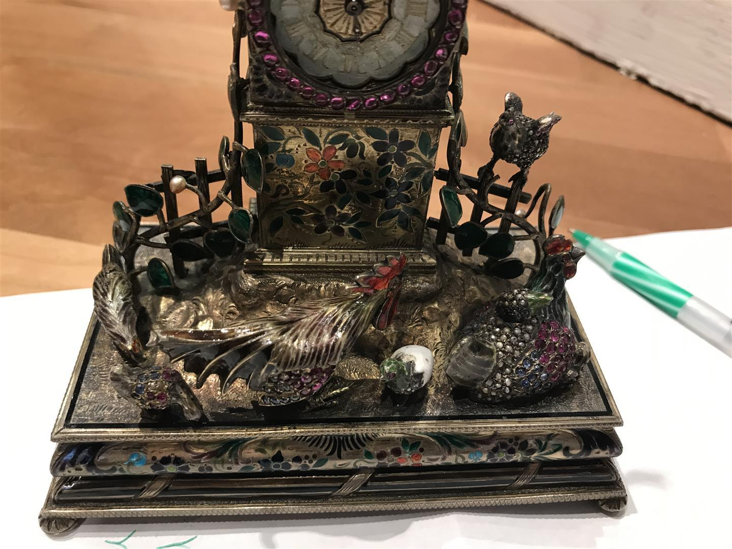 Viennese Silver-gilt and Enamel Table Clock