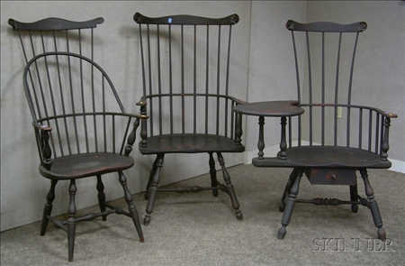 Three Reproduction Black Painted Windsor Chairs Sale