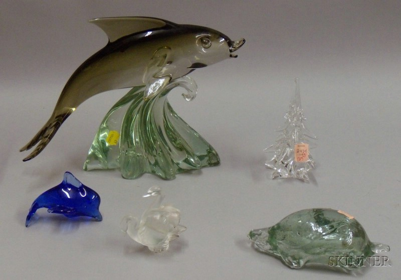 Five Colored and Colorless Art Glass Figurals