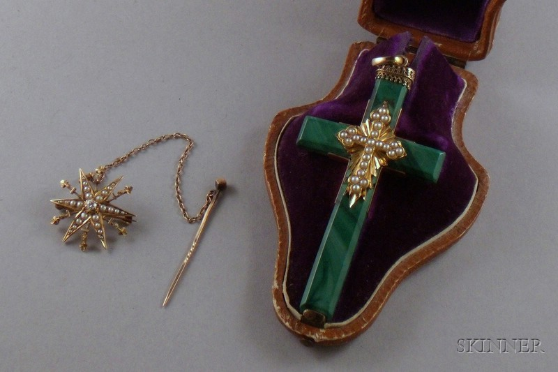 Antique 14kt Gold, Seed Pearl, and Malachite Cross Pendant and an Antique 14kt Gold   Seed Pearl and Diamond Brooch