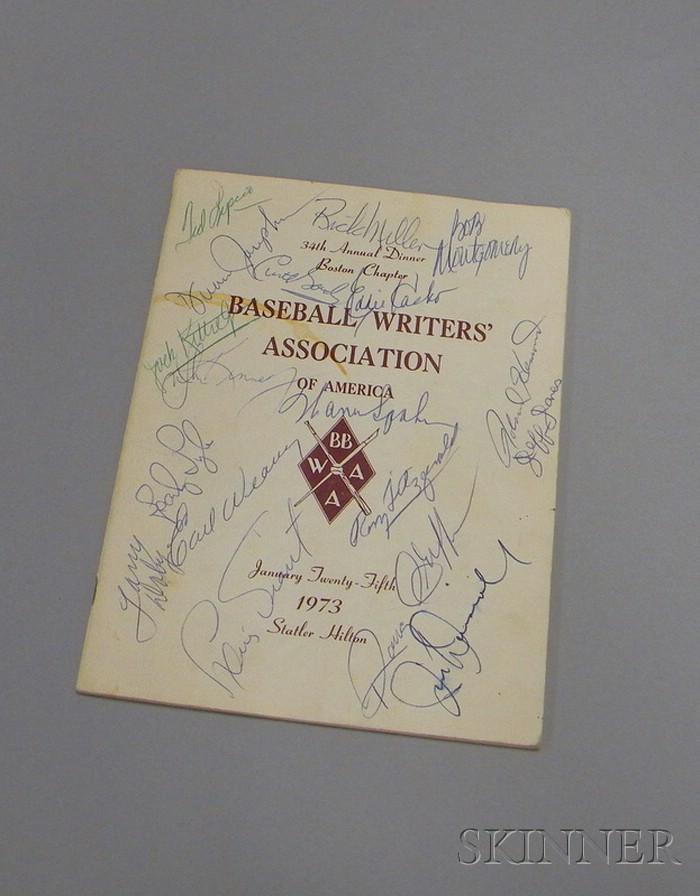 Autographed 1973 Boston Baseball Writers' Association Annual Dinner Program