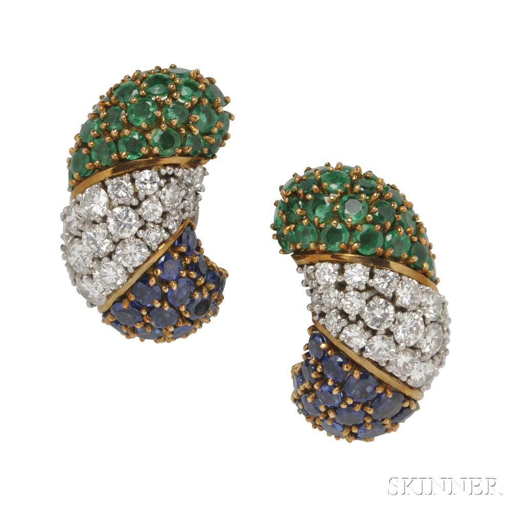 18kt Gold, Sapphire, Diamond, and Emerald Earclips