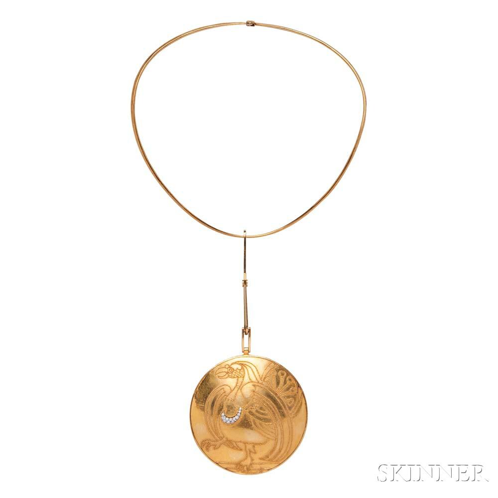 Artist-designed Gold and Diamond Griffin Pendant, Wassily Kandinsky