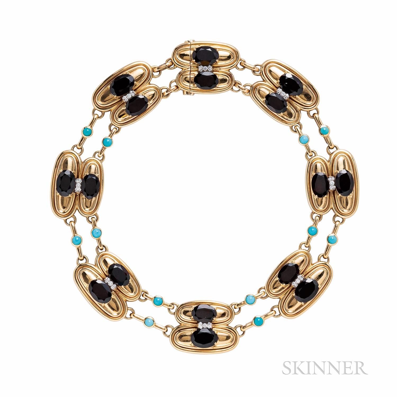 David Webb 18kt Gold, Garnet, Turquoise, and Diamond Necklace