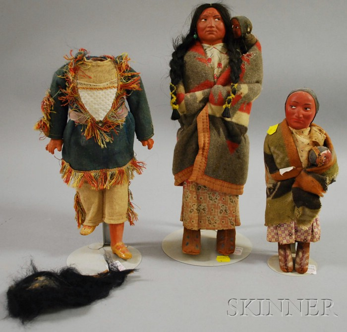 Two Native American Skookum Dolls and Skookum Doll Body