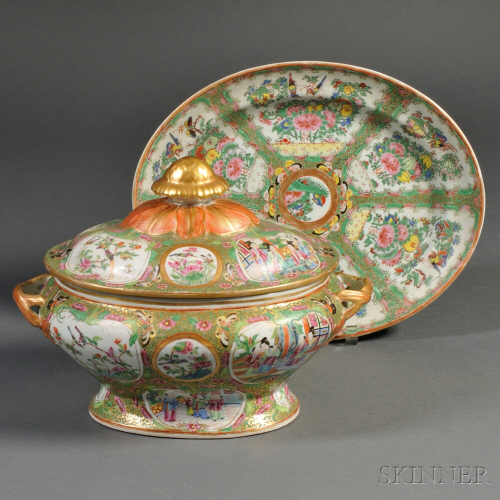 Rose Medallion Porcelain Oval Covered Tureen and Famille Rose Oval...