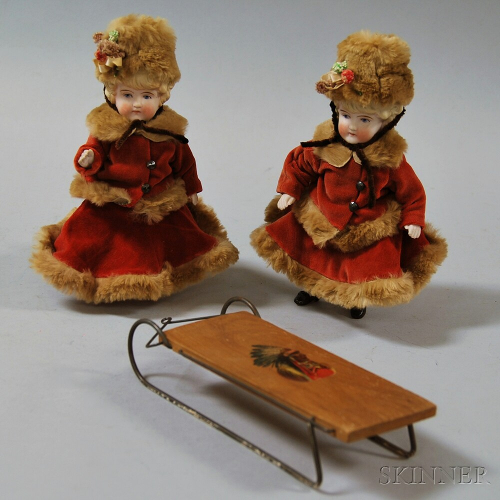 Pair of Blonde German All-bisque Dolls