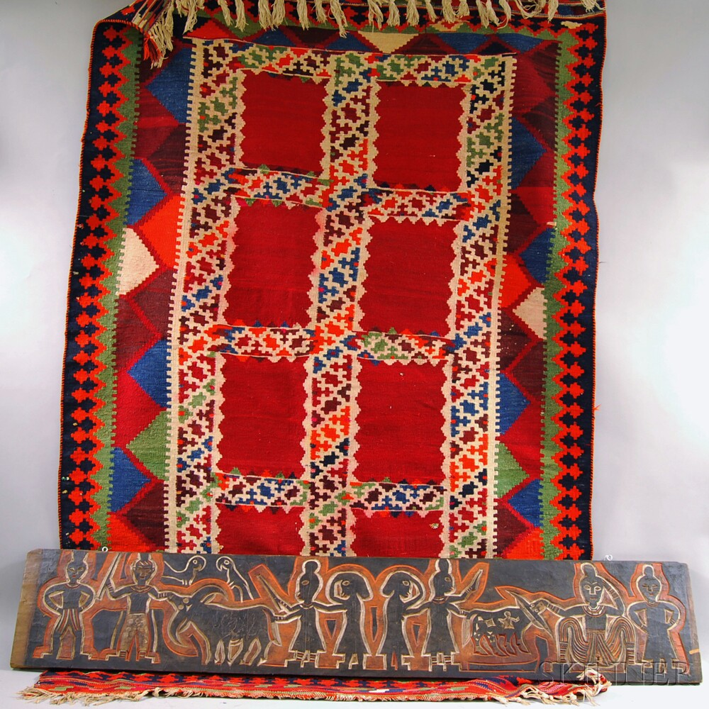 Indian Carved Wood Architectural Panel and a Kilim.     Estimate $100-150