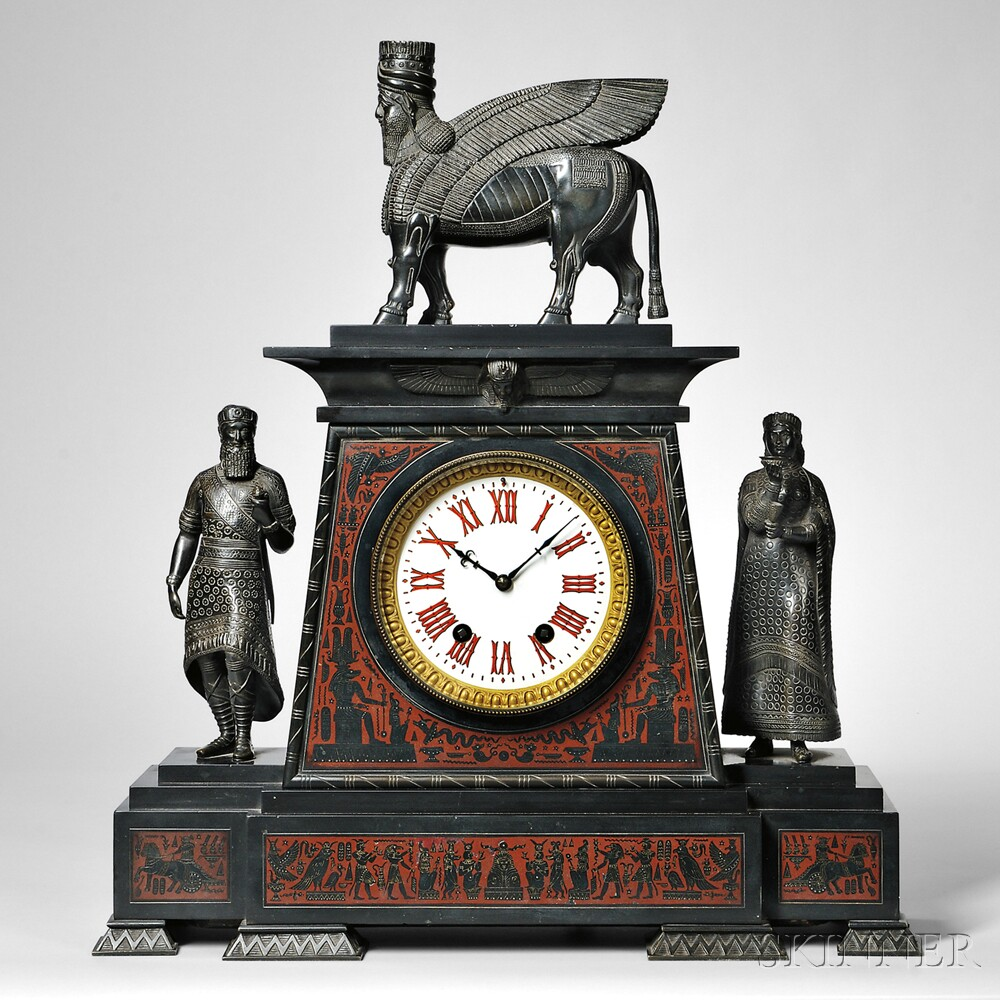 Large Black Marble and Bronze Egyptian Revival Shelf Clock