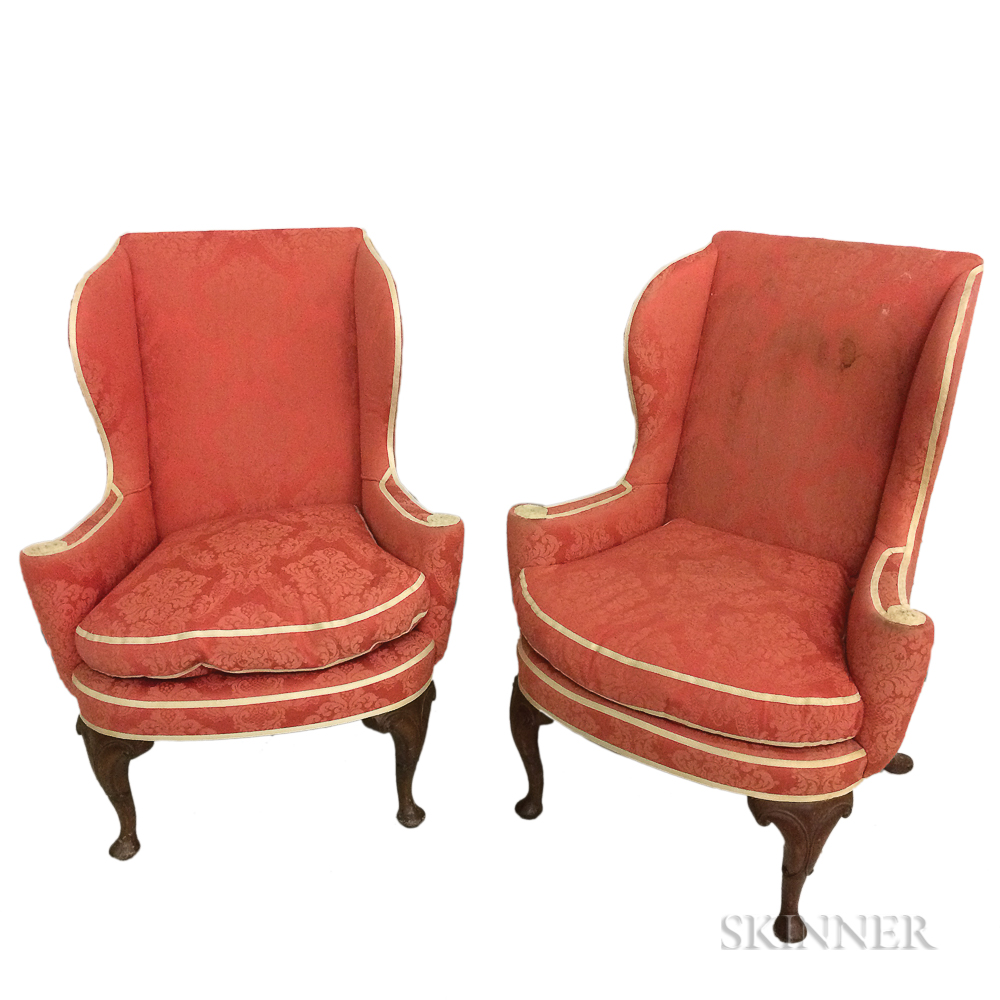 Pair of Queen Anne-style Upholstered Mahogany Wing Chairs