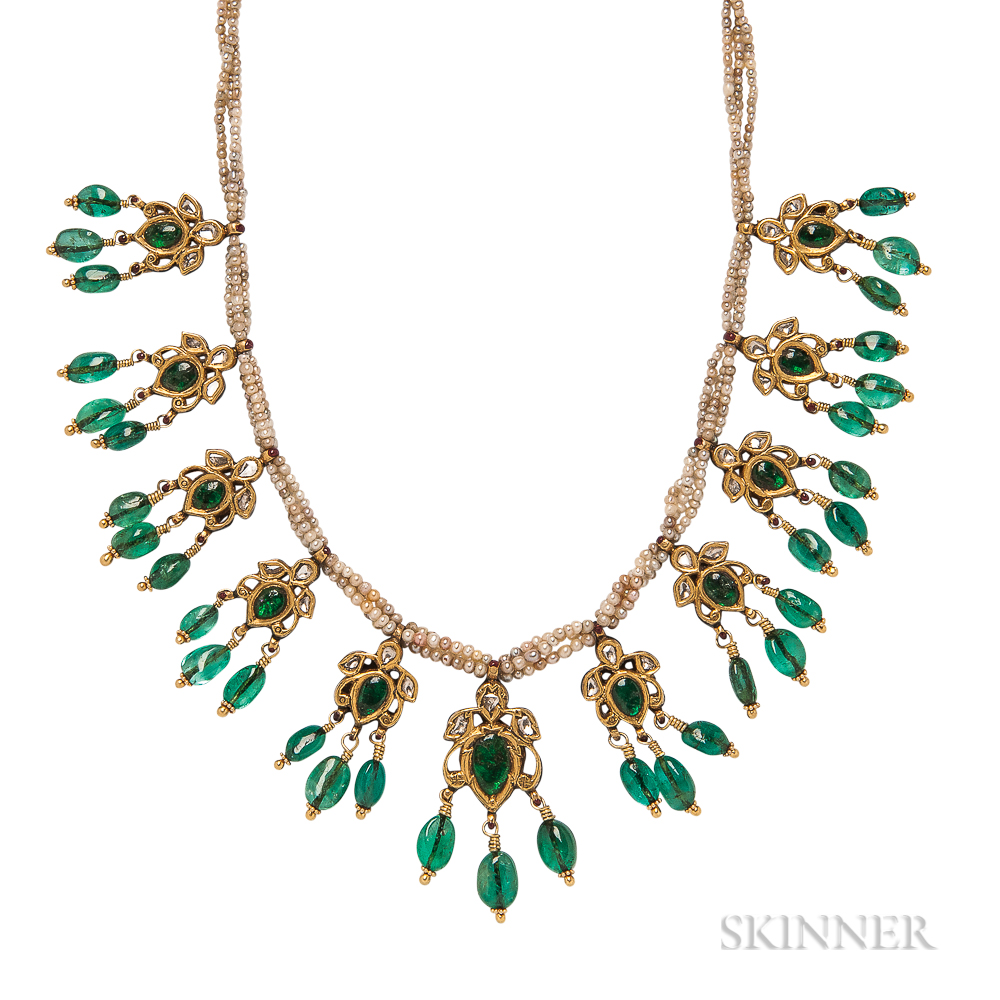 Emerald, Diamond, and Seed Pearl Necklace