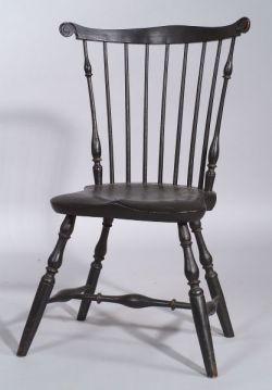 Black Painted Fan-back Windsor Side Chair