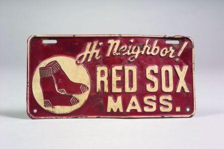 "Narragansett Beer ""Hi Neighbor"" Boston Red Sox Pressed Metal Automobile License   Plate"