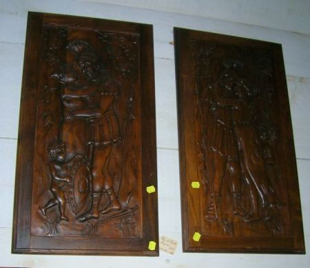 Pair of Continental-style Carved Hardwood Plaques