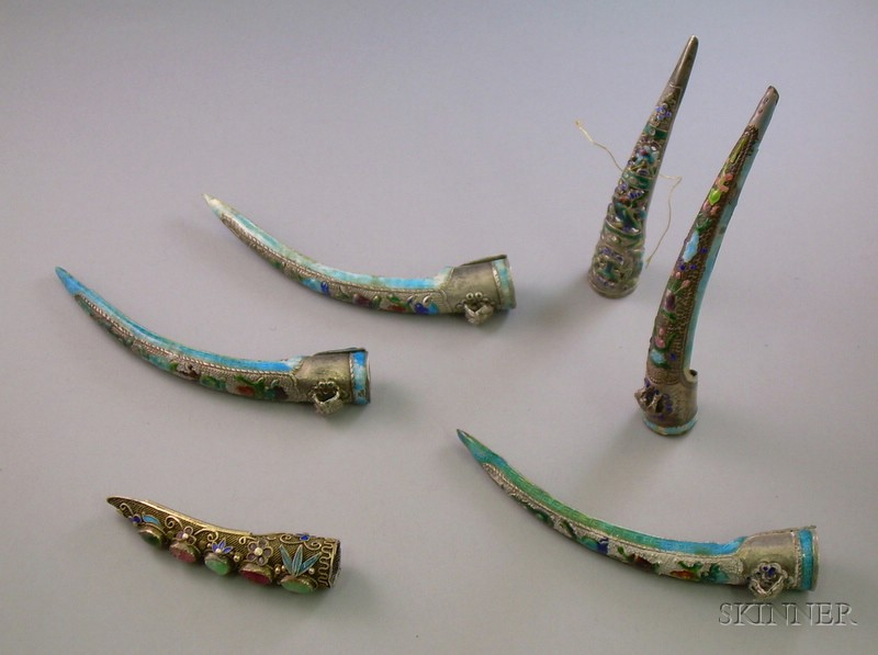 Six Chinese Silver and Enamel Fingernail Guards