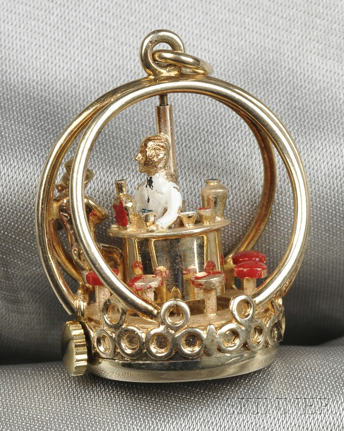 14kt Gold and Enamel Mechanical Watch Fob