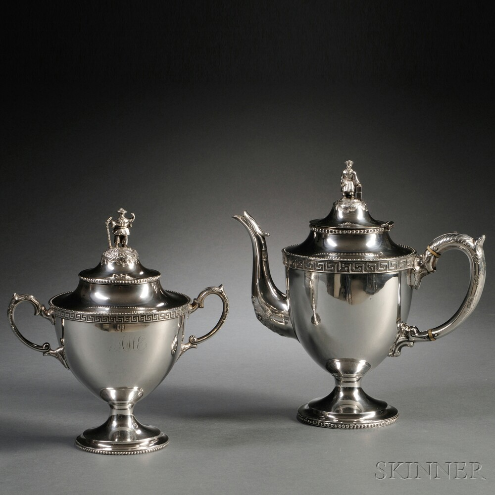 Robert & William Wilson Coin Silver Teapot and Covered Sugar