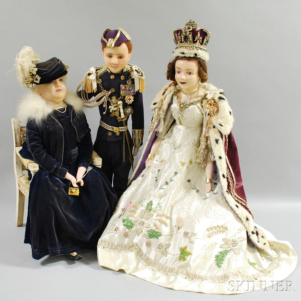 Three Large Wax Dolls, Queen Elizabeth II, Prince Phillip, and the Queen...