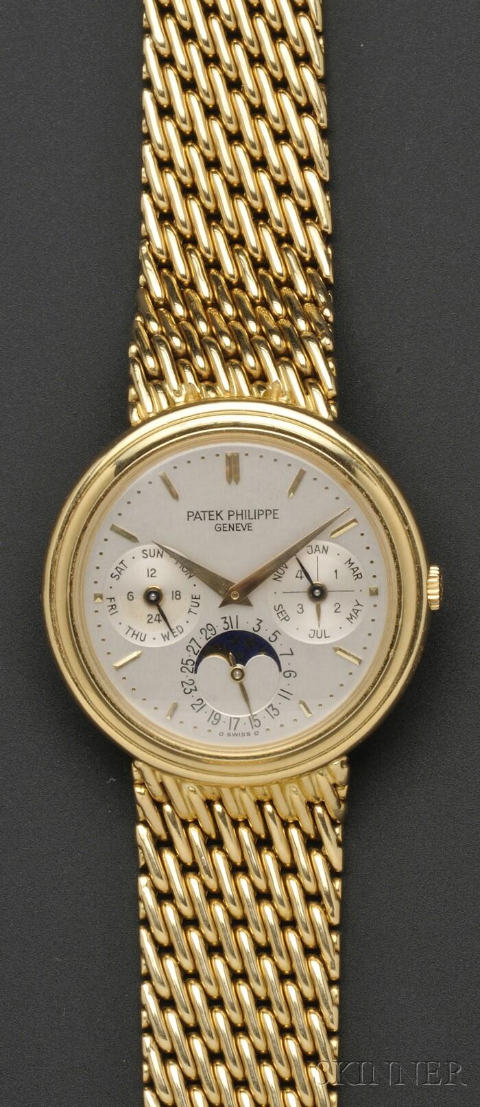 "18kt Gold ""Perpetual Calendar Moonphase"" Wristwatch, Patek Philippe"