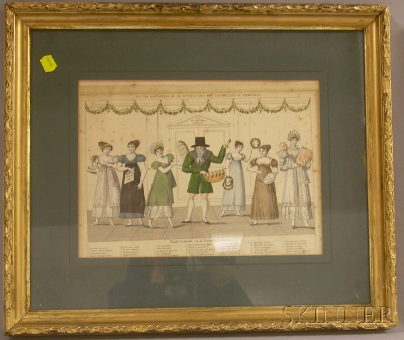 Two Framed French School Hand-colored Engravings