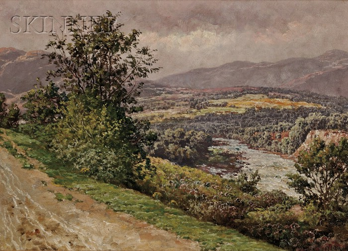 William Baptiste Baird  (American, 1847-1917)      View of a River, Probably The River Dee