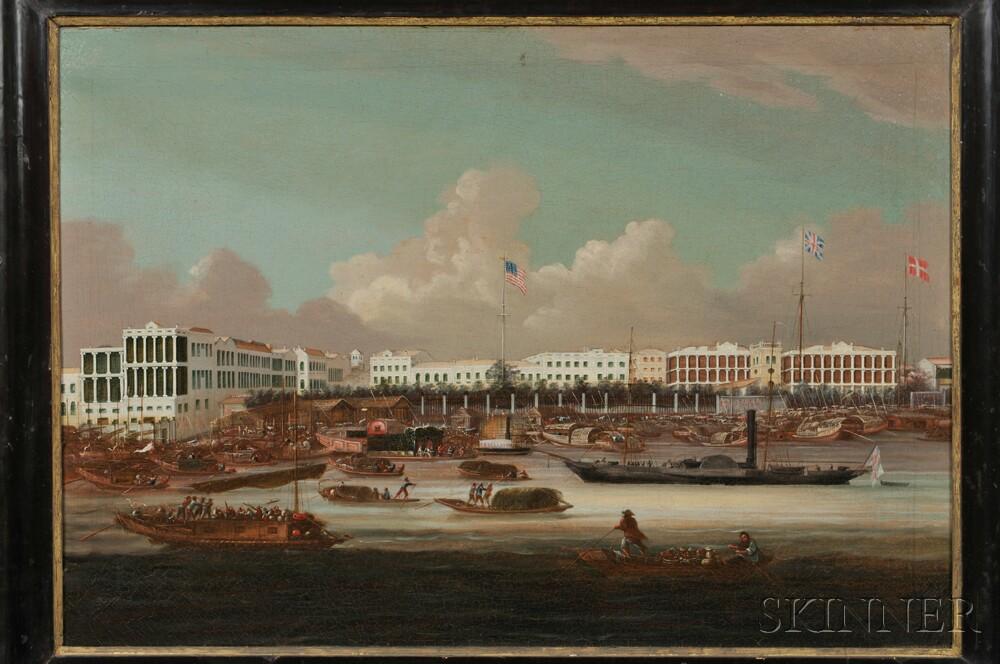 China Trade School, 19th Century      The Waterfront Hongs at Canton, China, 1847-1856.