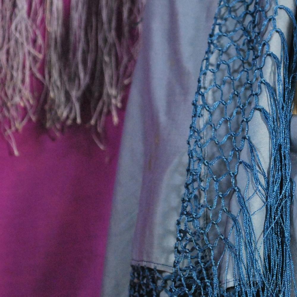 Five Monochrome Silk Fringed Shawls