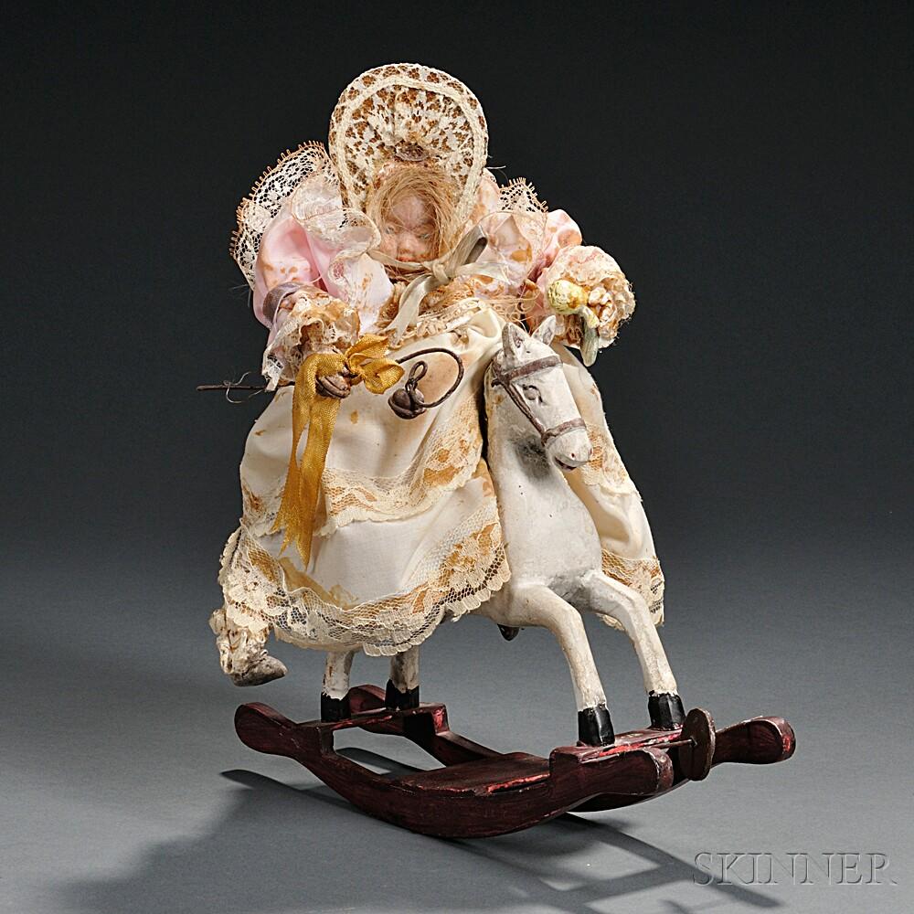 Musical Automaton Rocking Horse Doll
