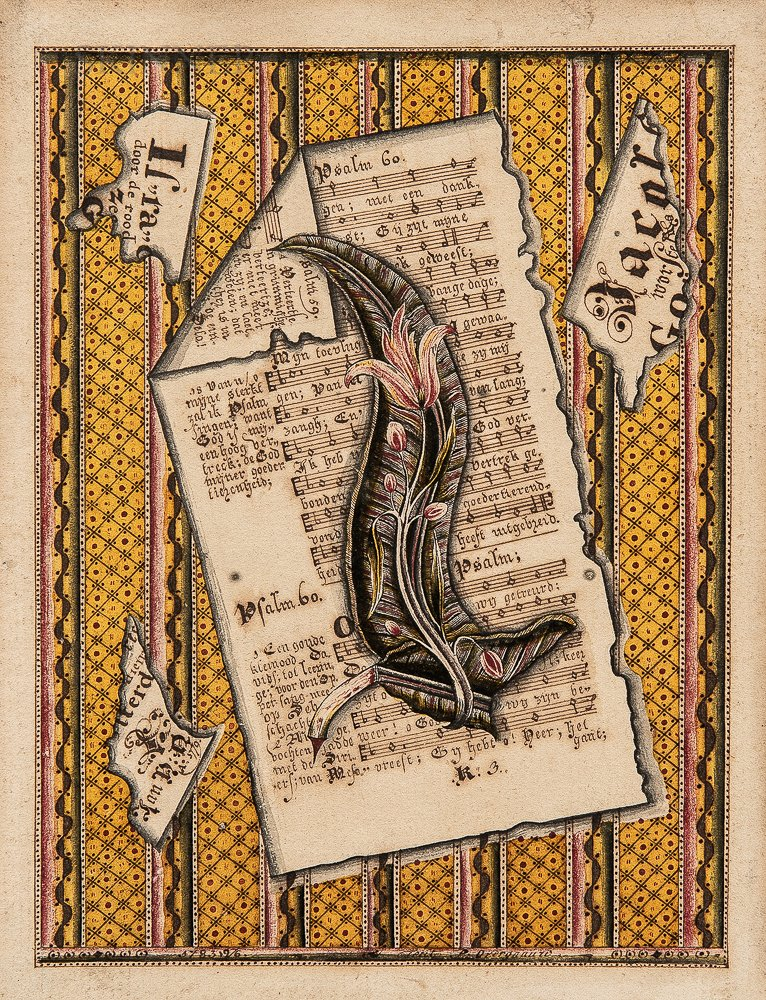 Dutch School, Late 18th Century      Trompe l'Oeil Collage of a Psalm Page and Fragments