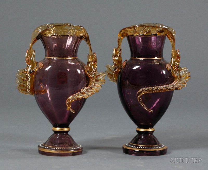 Pair of Lizard Decorated Art Nouveau Vases, Possibly Moser