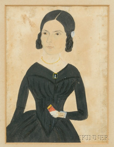 Jane A. Davis, (American 1821-1855)      Portrait of a Young Woman Holding a Red Book.