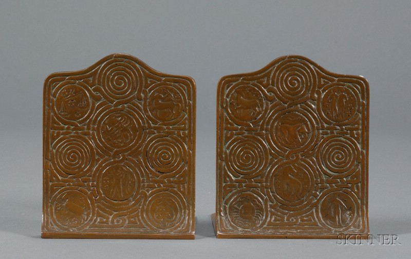 Two Tiffany Studios Bookends