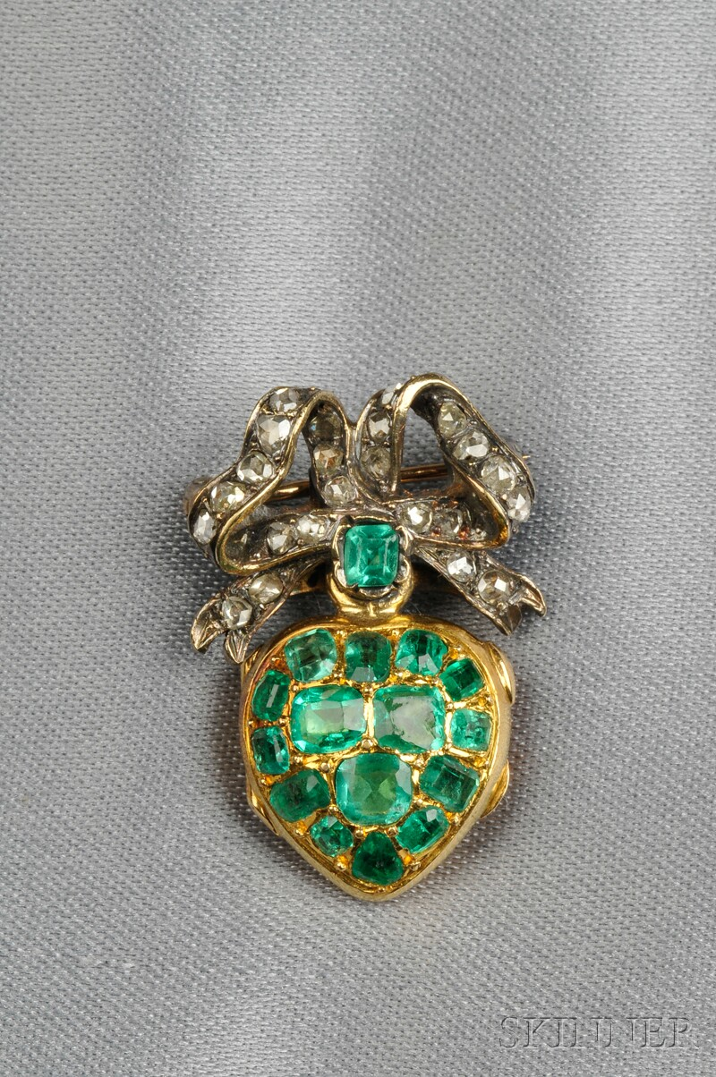 Antique Emerald and Diamond Heart Locket Pin