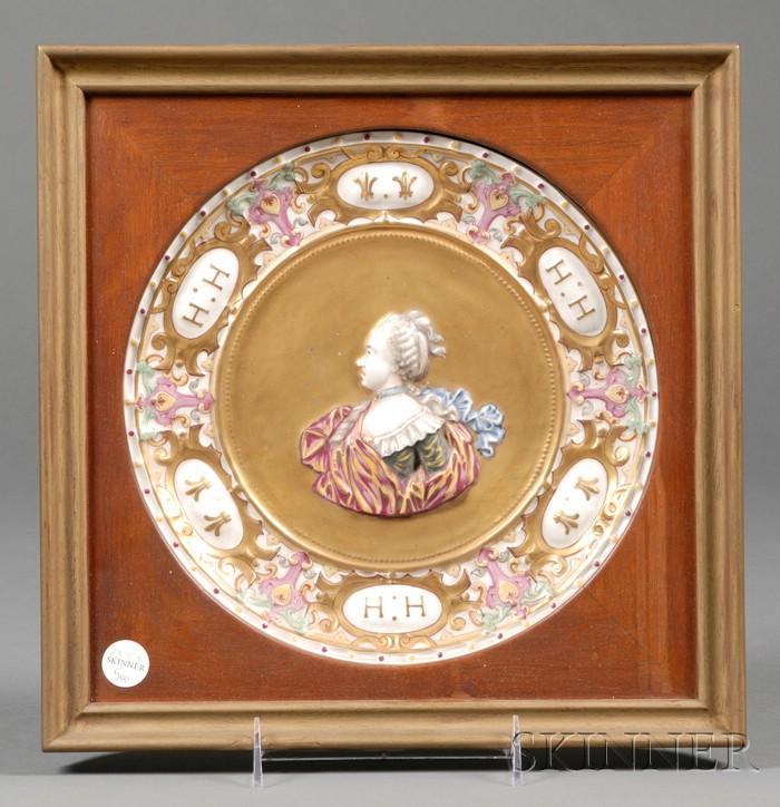 "Framed ""Capo di Monte"" Porcelain Plate"