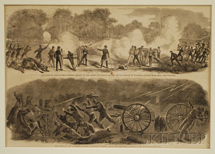 Seven Harper's Weekly   Pages with Woodcut Civil War Illustrations