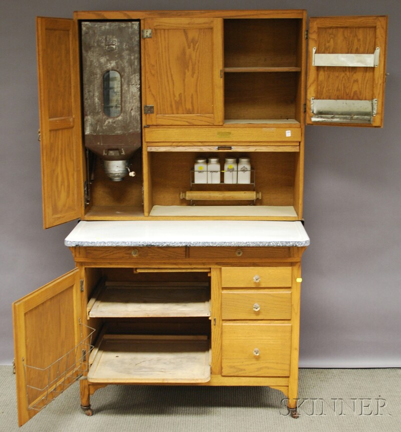 Sellers oak tambour hoosier cabinet sale number 2630m for Auctions for kitchen cabinets