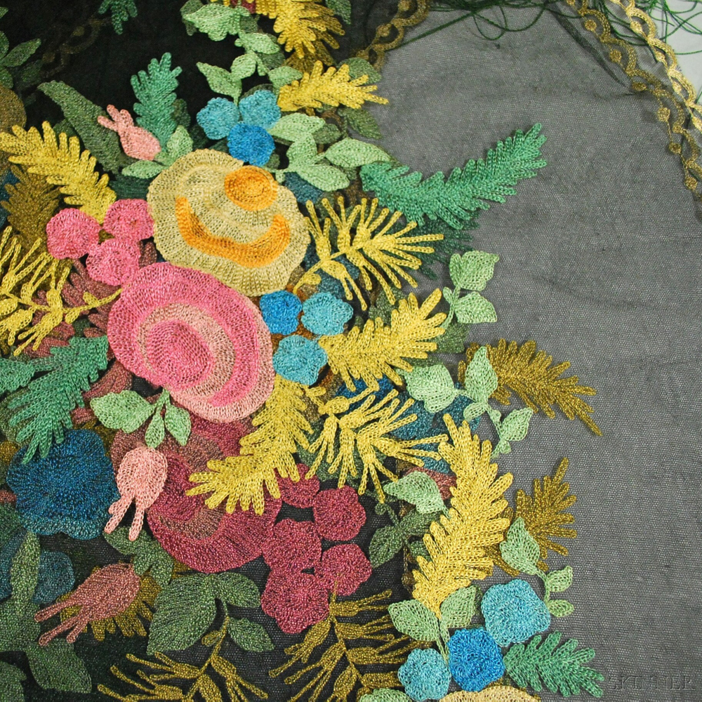 Three Chain-stitch Embroidered Shawls