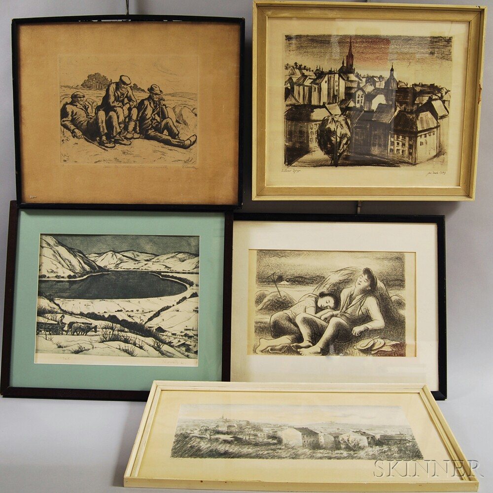 Five Framed Eastern European and Czech Works on Paper