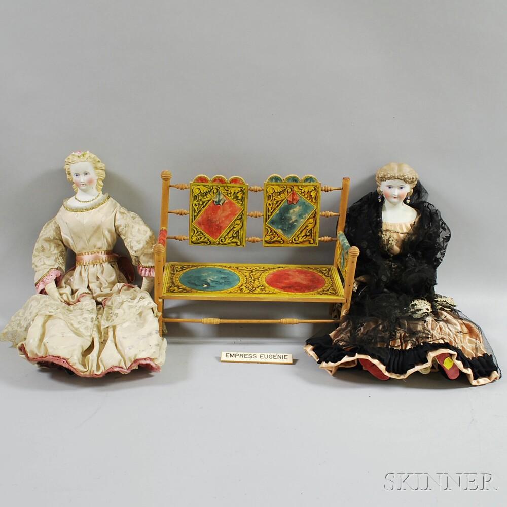 Two Blonde Bisque Shoulder Head Dolls