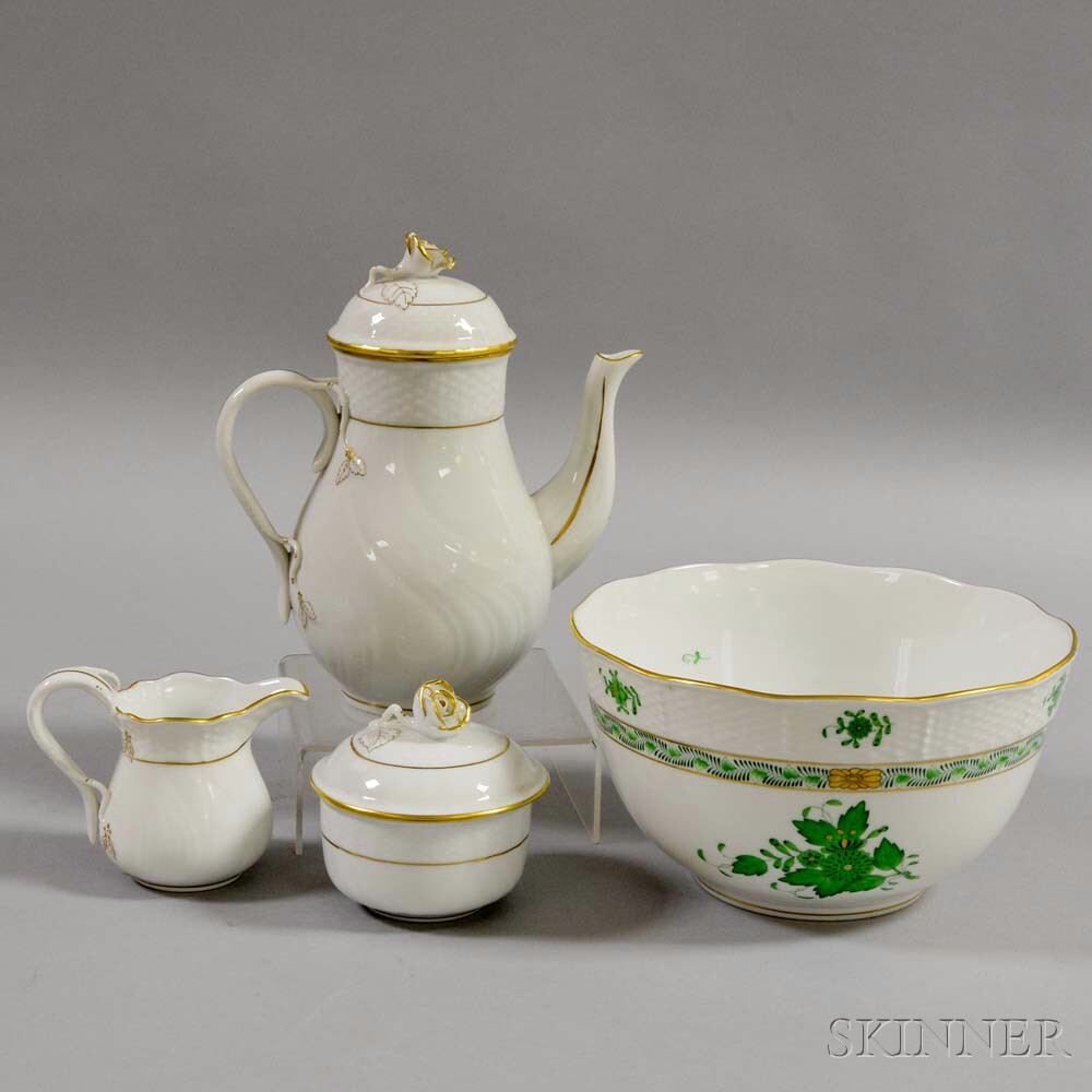 Herend Porcelain Sugar, Creamer, Teapot, and Bowl