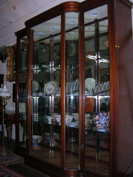 Large Edwardian Mahogany and Glass Three-Door Display Cabinet