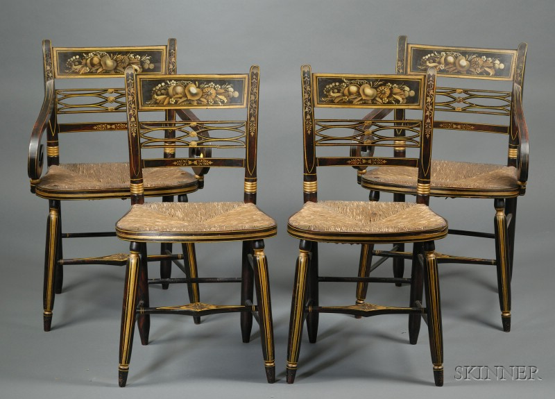 Set of Eight Grain-painted and Stencil Decorated Fancy Chairs with Woven Rush Seats