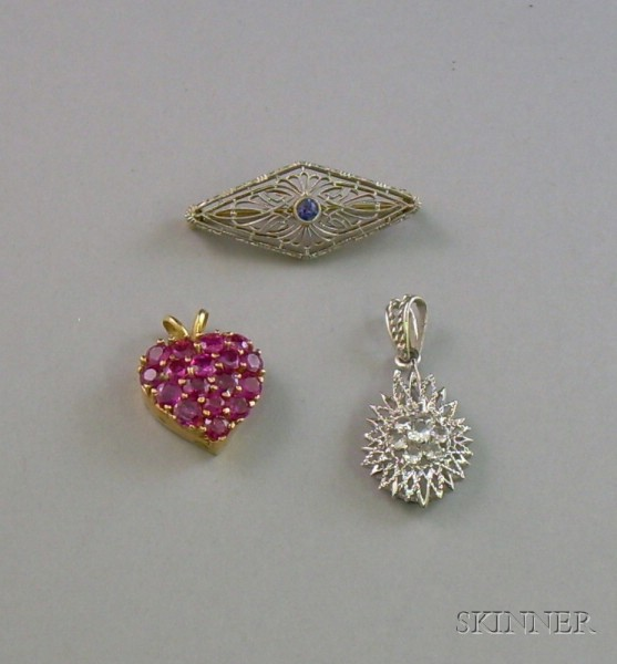 14kt Gold and Ruby Heart Pendant, Krementz 14kt Gold Lacework Pin, and a 14kt White Gold Pendant.